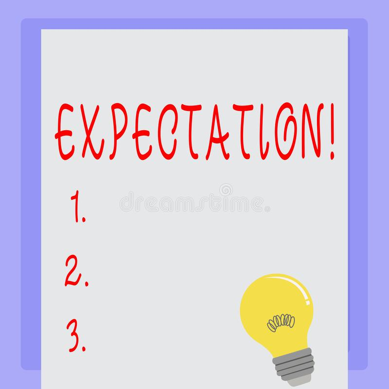 Handwriting text Expectation. Concept meaning Meteorological research analyst predicts weather forecast. Handwriting text Expectation. Concept meaning royalty free illustration