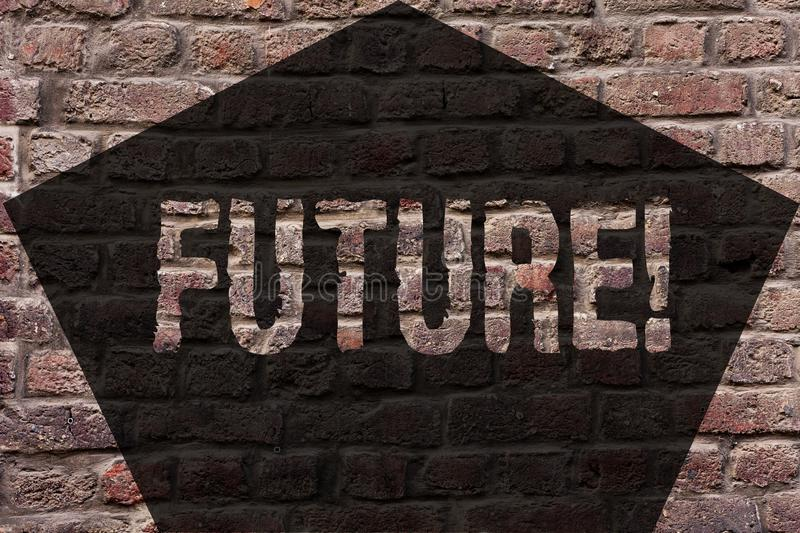 Handwriting text Future. Concept meaning Period of time following the present moment Events that will happen Brick Wall. Handwriting text Future. Conceptual royalty free stock photos