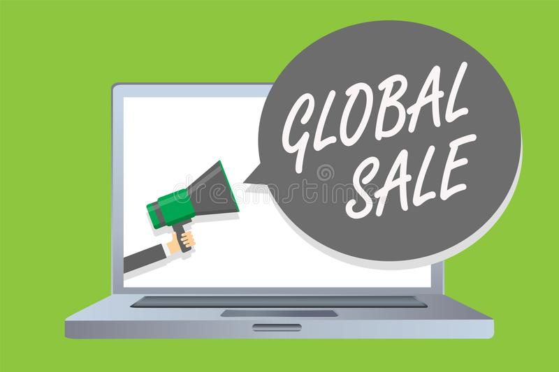 Handwriting text Global Sale. Concept meaning managers operations for companies do business internationally Man holding megaphone stock illustration