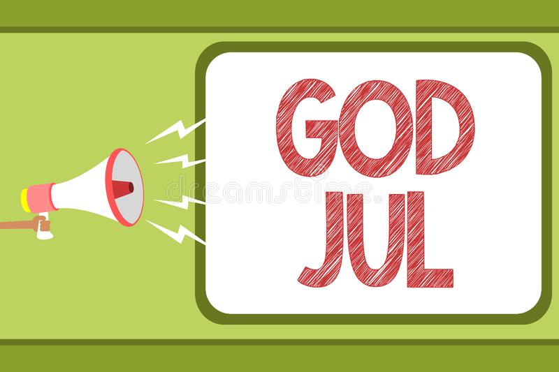 Handwriting text God Jul. Concept meaning Merry Christmas Greeting people for new year happy holidays Man holding. Megaphone loudspeaker speech bubble message stock illustration