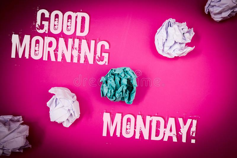 Handwriting text Good Morning Monday Motivational Call. Concept meaning Happy Positivity Energetic Breakfast Light pink floor circ. Led shadow ruffled white royalty free stock image