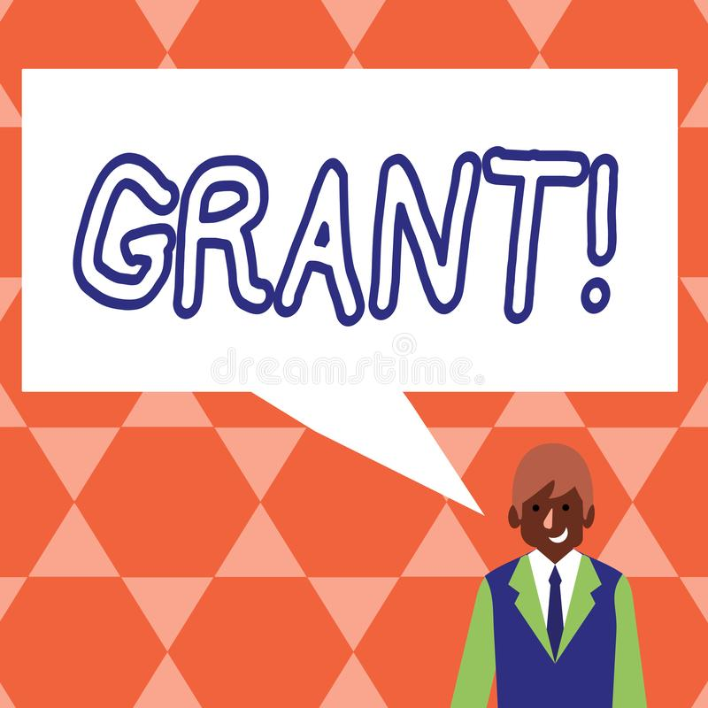 Handwriting text Grant. Concept meaning Money given by an organization or government for a purpose Scholarship. Handwriting text Grant. Concept meaning Money vector illustration