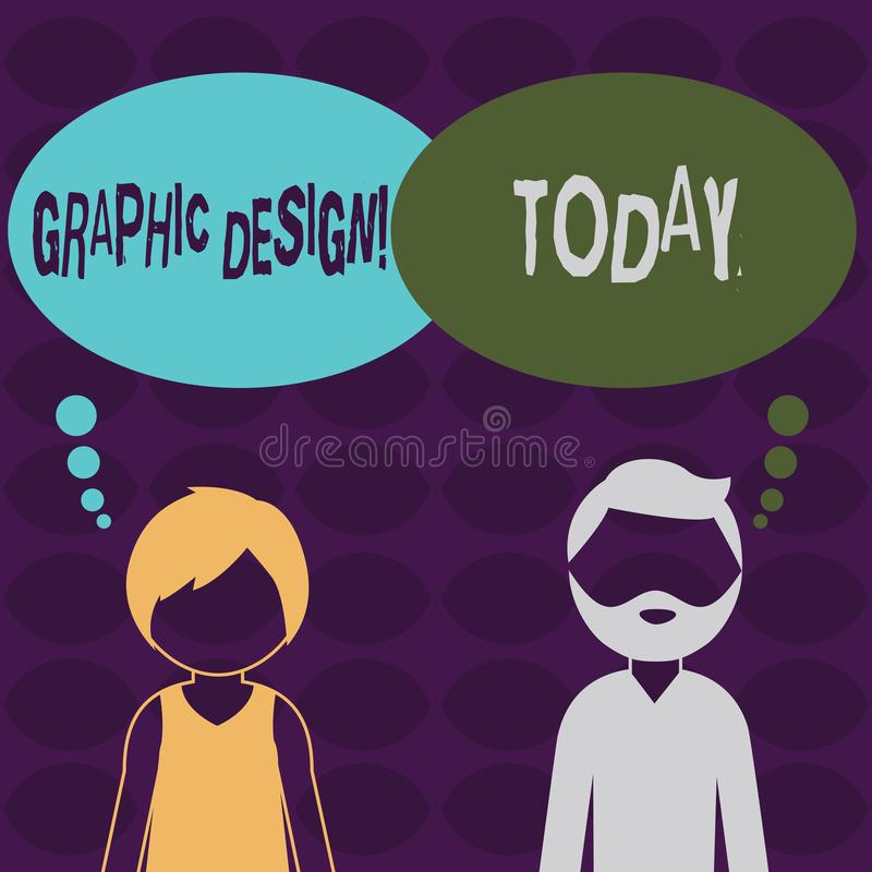 Handwriting text Graphic Design. Concept meaning Art of combining Text Images in advertising Bearded Man and Woman. Handwriting text Graphic Design. Conceptual stock illustration