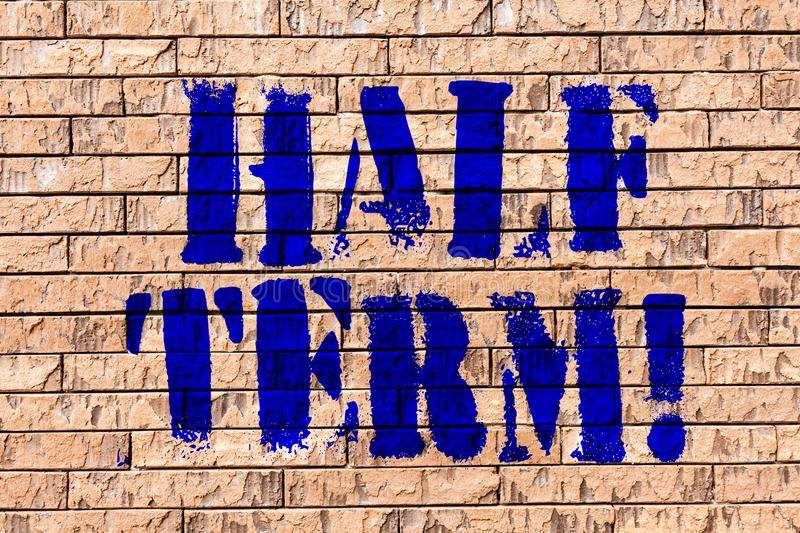 Handwriting text Half Term. Concept meaning Short holiday in the middle of the periods school year is divided Brick Wall. Handwriting text Half Term. Conceptual royalty free stock photography