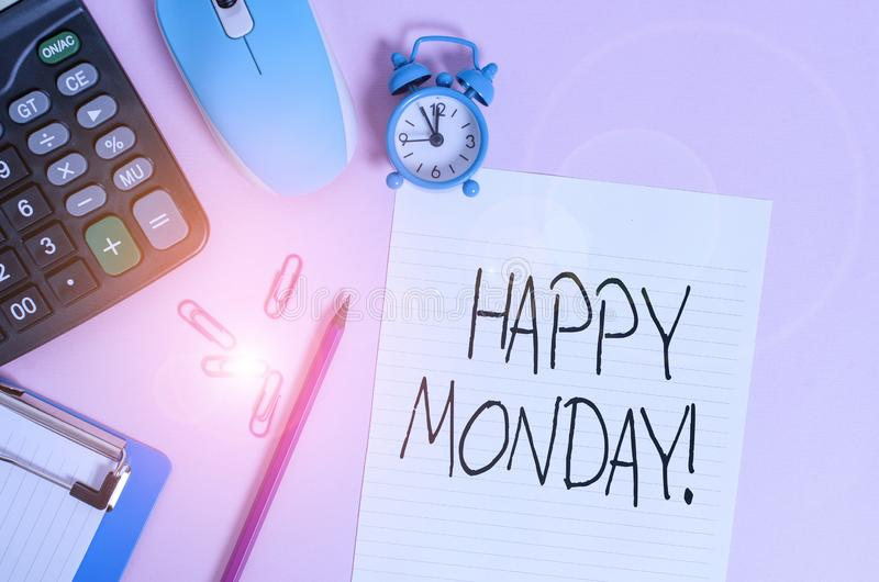 Handwriting text Happy Monday. Concept meaning telling that demonstrating order to wish him great new week Calculator royalty free stock images