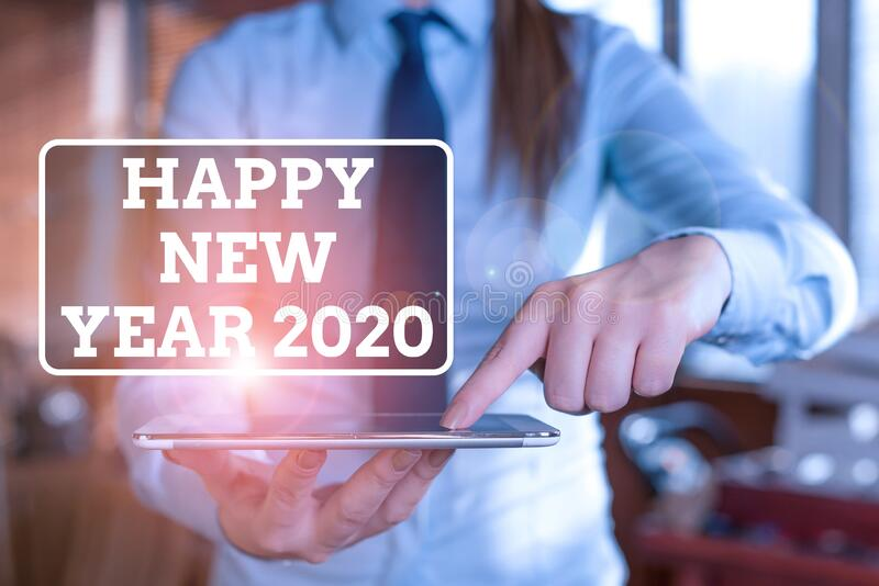 Handwriting text Happy New Year 2020. Concept meaning Greeting Celebrating Holiday Fresh Start Best wishes Blurred woman stock photos
