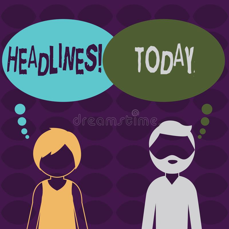 Handwriting text Headlines. Concept meaning Heading at the top of an article in newspaper Bearded Man and Woman Faceless. Handwriting text Headlines. Conceptual royalty free illustration