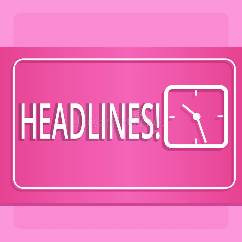 Handwriting text Headlines. Concept meaning Heading at the top of an article in newspaper Modern Design of Transparent. Handwriting text Headlines. Conceptual royalty free illustration