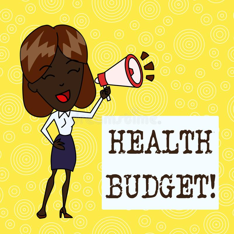 Handwriting text Health Budget. Concept meaning amount of money to support your health and wellbeing needs Young Woman. Handwriting text Health Budget stock illustration