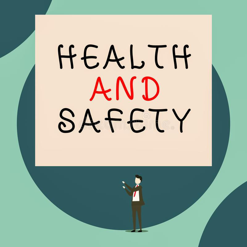 Handwriting text Health And Safety. Concept meaning procedures intended to prevent accident in workplace Isolated view. Handwriting text Health And Safety stock illustration