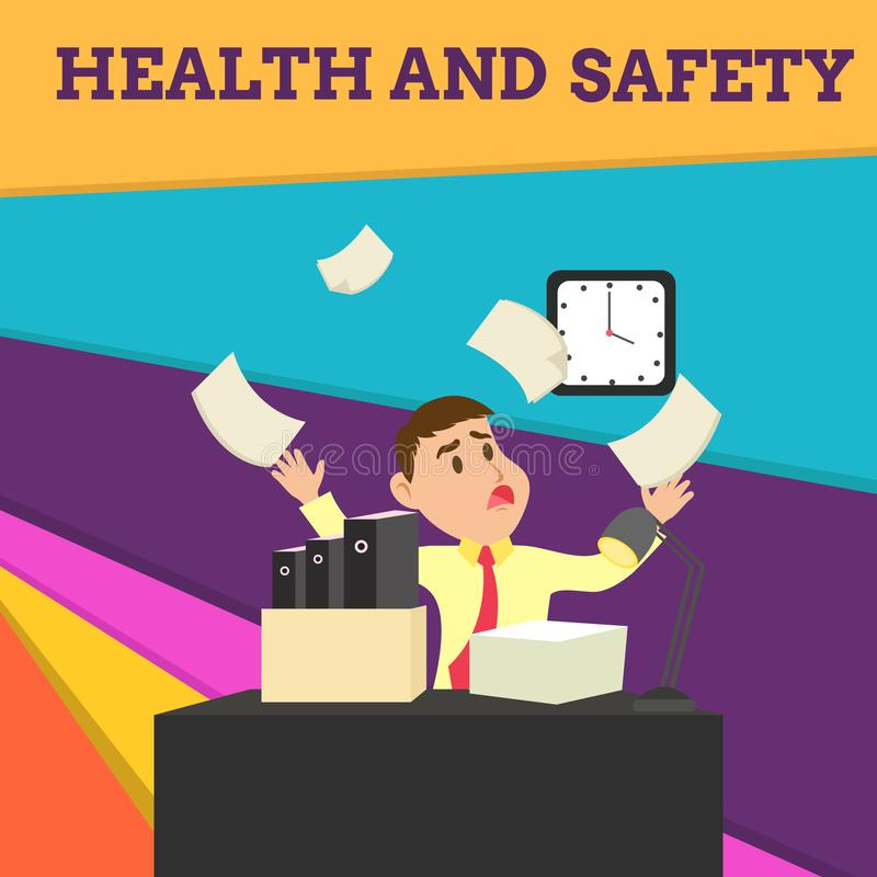 Handwriting text Health And Safety. Concept meaning procedures intended to prevent accident in workplace Confused Male. Handwriting text Health And Safety vector illustration