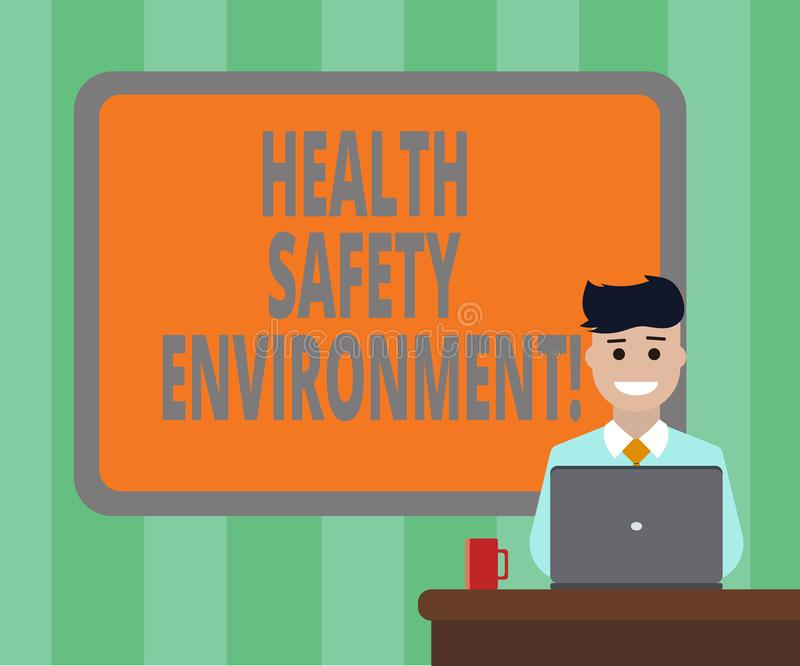 Handwriting text Health Safety Environment. Concept meaning Environmental protection and safety at work Blank Bordered Board. Behind Man Sitting Smiling with stock photos