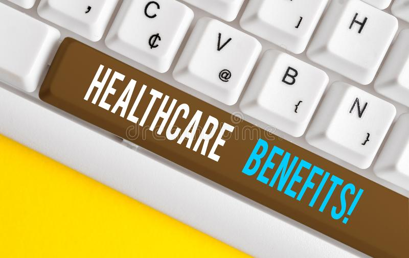 Handwriting text Healthcare Benefits. Concept meaning monthly fair market valueprovided to Employee dependents White pc. Handwriting text Healthcare Benefits royalty free stock images
