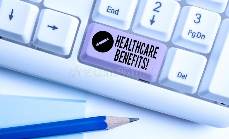 Handwriting text Healthcare Benefits. Concept meaning monthly fair market valueprovided to Employee dependents White pc. Handwriting text Healthcare Benefits stock photos