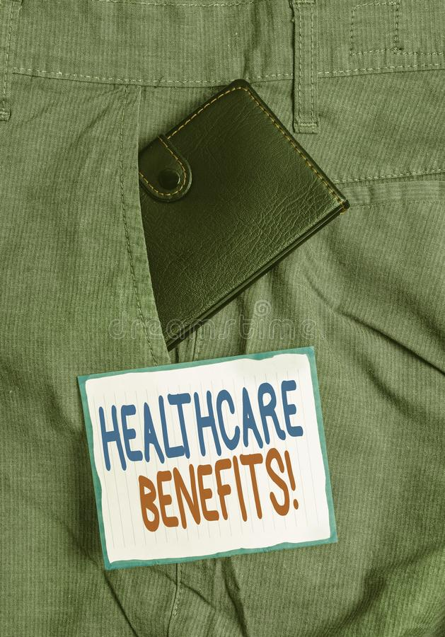 Handwriting text Healthcare Benefits. Concept meaning monthly fair market valueprovided to Employee dependents Small. Handwriting text Healthcare Benefits stock image