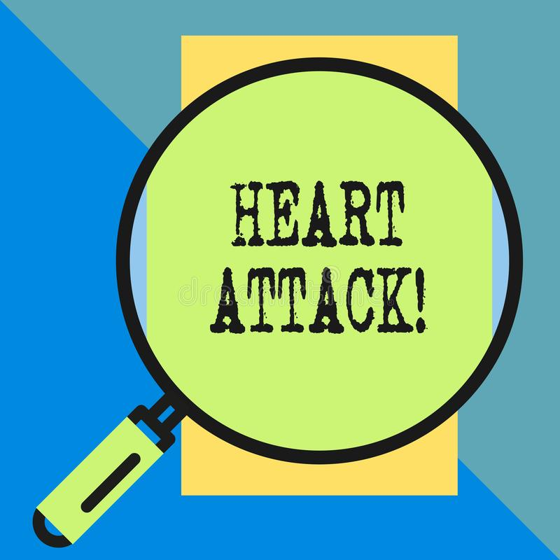 Handwriting text Heart Attack. Concept meaning sudden occurrence of coronary thrombosis resulting in death Big magnifier. Handwriting text Heart Attack stock illustration