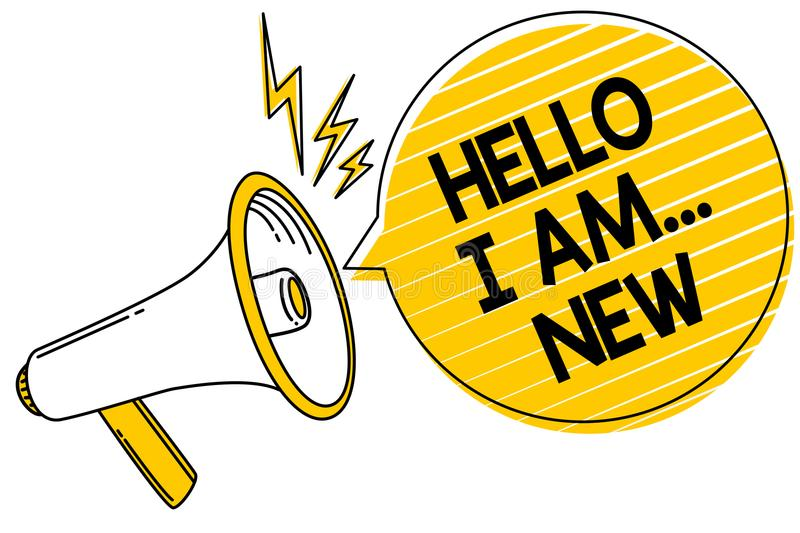 Handwriting text Hello I Am... New. Concept meaning Introduce yourself Meeting Greeting Work Fresh worker School Convey message te. Xt lines ideas loud speaker stock illustration