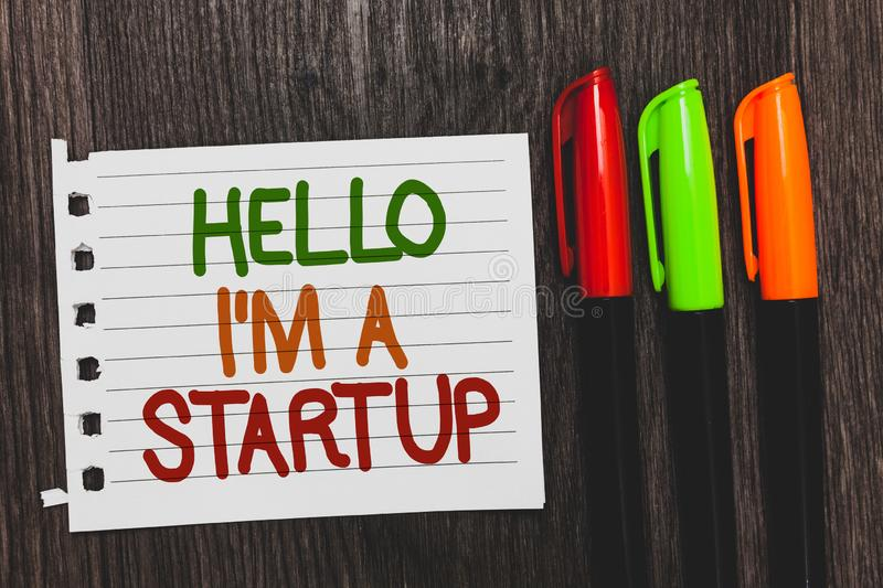 Handwriting text Hello I am A Startup. Concept meaning Entrepreneur starting business Presenting New project Colorful words with w. Hite page red green orange royalty free stock photo