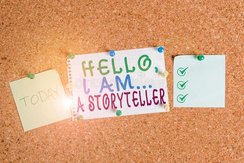 Handwriting text Hello I Am A Storyteller. Concept meaning introducing yourself as novels article writer Corkboard color. Handwriting text Hello I Am A royalty free stock image