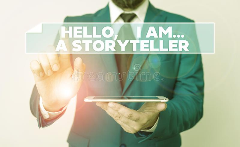Handwriting text Hello I Am A Storyteller. Concept meaning introducing yourself as novels article writer Businessman. Handwriting text Hello I Am A Storyteller stock photography