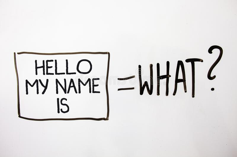 Handwriting text Hello My Name Is. Concept meaning Introduce yourself meeting someone new Presentation White shadow messages ask e. Quations memories thought stock photography