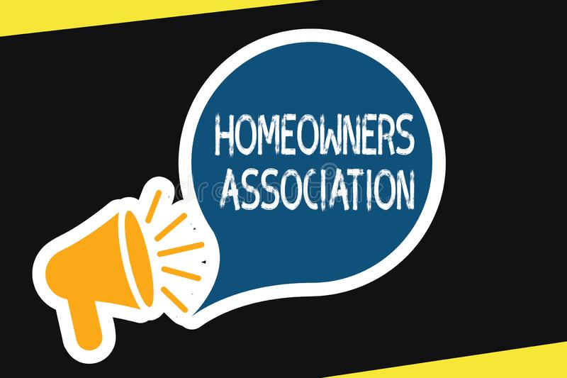 Handwriting text Homeowners Association. Concept meaning Organization with fee for upkeeps of Gated Community.  royalty free illustration