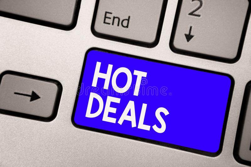 Handwriting text Hot Deals. Concept meaning An agreement through which one of the paties is offered and accept Keyboard blue key I. Ntention create computer royalty free stock photography