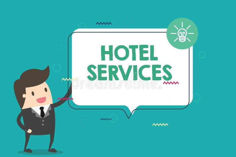 Handwriting text Hotel Services. Concept meaning Facilities Amenities of an accommodation and lodging house.  royalty free stock photography