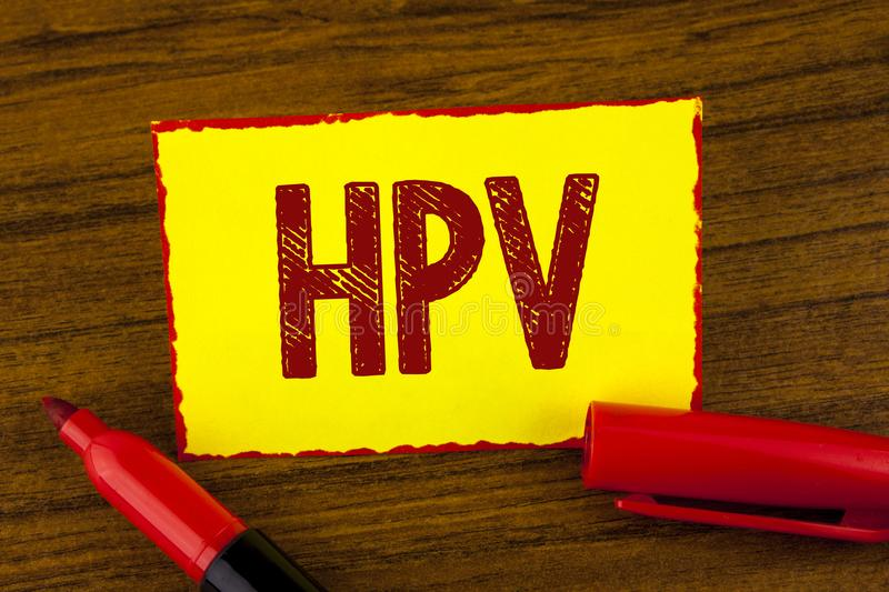 Handwriting text Hpv. Concept meaning Human Papillomavirus Infection Sexually Transmitted Disease Illness written on Yellow Sticky. Handwriting text Hpv. Concept royalty free stock images