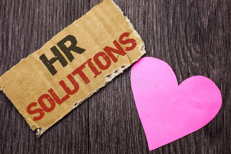 Handwriting text Hr Solutions. Concept meaning Recruitment Solution Consulting Management Solving Onboarding written on Cardboard royalty free stock image