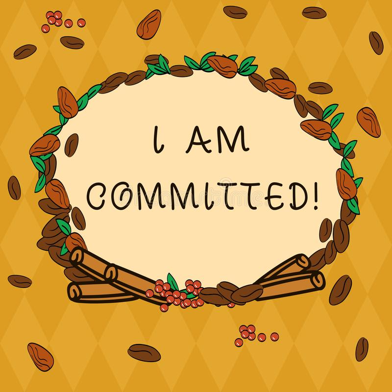 Handwriting text I Am Committed. Concept meaning To be engage with a cause or someone in particular Commitment Wreath. Made of Different Color Seeds Leaves and stock illustration