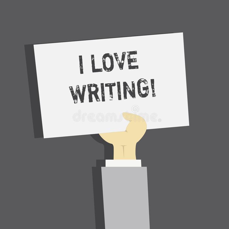 Handwriting text I Love Writing. Concept meaning Affection for creating novels journals inspirational author. royalty free illustration