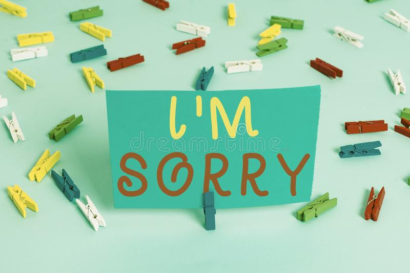 Handwriting text I M Sorry. Concept meaning Toask for forgiveness to someone you unintensionaly hurt Colored clothespin. Handwriting text I M Sorry. Conceptual stock image