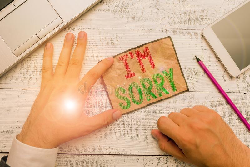 Handwriting text I M Sorry. Concept meaning Toask for forgiveness to someone you unintensionaly hurt. Handwriting text I M Sorry. Conceptual photo Toask for stock images