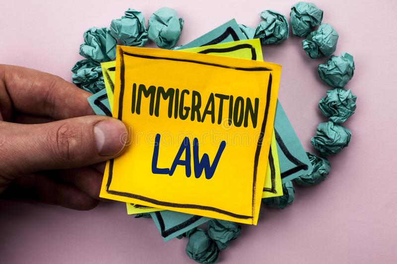 Handwriting text Immigration Law. Concept meaning National Regulations for immigrants Deportation rules written on Sticky Note Pap. Handwriting text Immigration stock photos