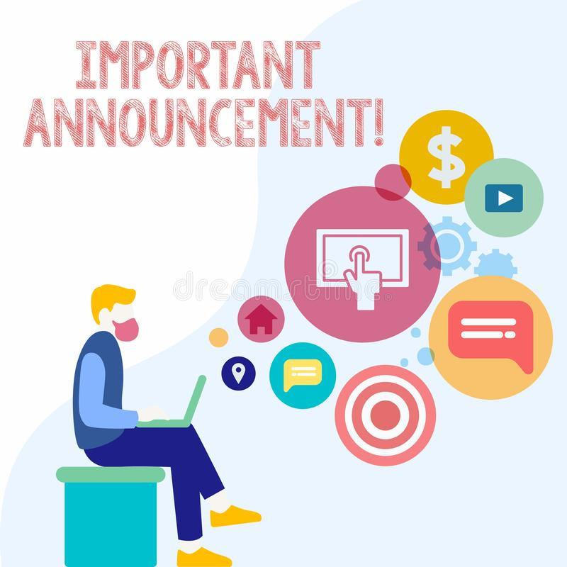 Handwriting text Important Announcement. Concept meaning A significant public notification or declaration Man Sitting royalty free illustration