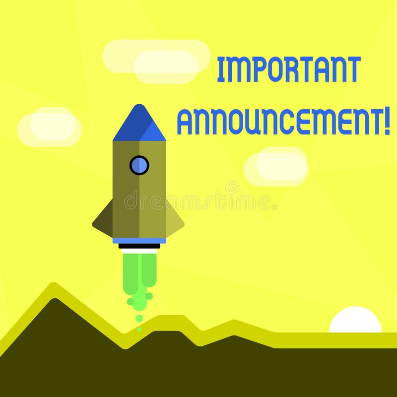Handwriting text Important Announcement. Concept meaning spoken statement that tells showing about something Colorful stock illustration