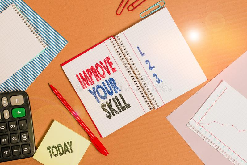 Handwriting text Improve Your Skill. Concept meaning Unlock Potentials from Very Good to Excellent to Mastery Striped. Handwriting text Improve Your Skill stock photography