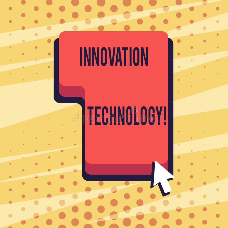 Handwriting text Innovation Technology. Concept meaning Major technological changes of products and processes Direction. Handwriting text Innovation Technology royalty free illustration