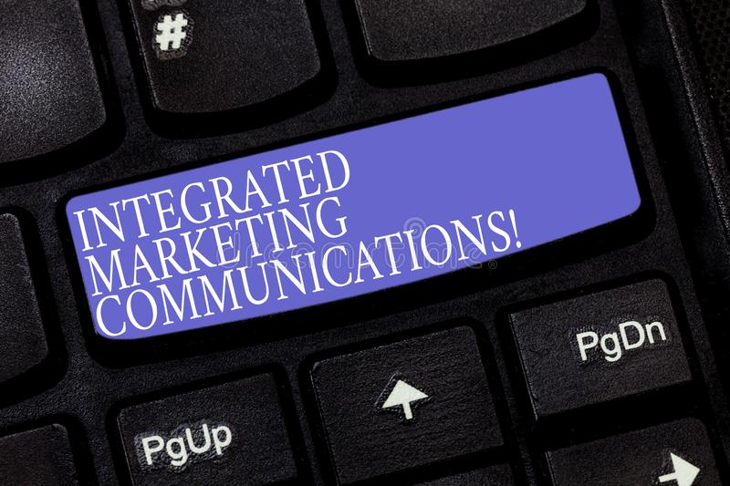 Handwriting text Integrated Marketing Communications. Concept meaning Linked all forms or communication Keyboard key. Intention to create computer message stock images
