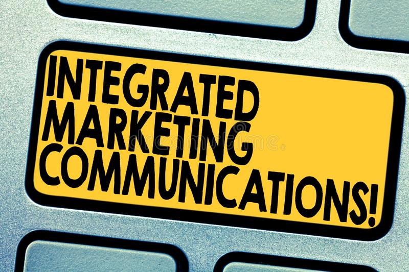 Handwriting text Integrated Marketing Communications. Concept meaning Linked all forms or communication Keyboard key. Intention to create computer message stock photos