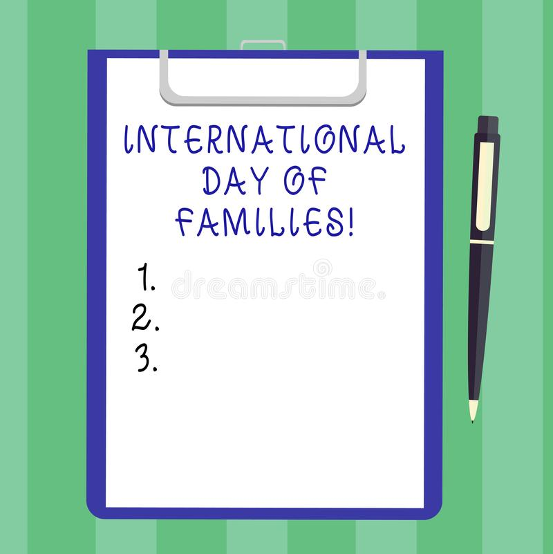 Handwriting text International Day Of Families. Concept meaning Family time togetherness celebration Blank Sheet of Bond Paper on stock images