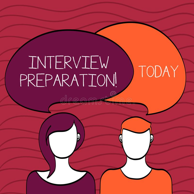 Handwriting text Interview Preparation. Concept meaning Candidate getting ready for the employer job dialogue Blank. Handwriting text Interview Preparation royalty free illustration