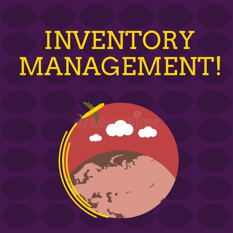 Handwriting text Inventory Management. Concept meaning Overseeing Controlling Storage of Stocks and Prices Airplane with. Handwriting text Inventory Management royalty free illustration