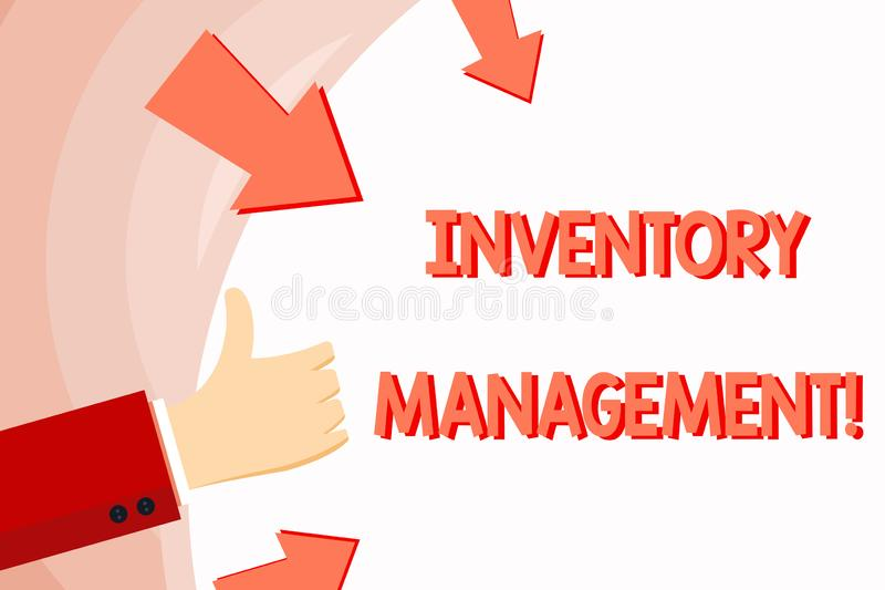 Handwriting text Inventory Management. Concept meaning supervision of noncapitalized assets and stock items Hand. Handwriting text Inventory Management royalty free illustration