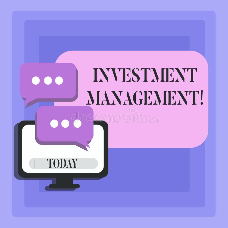 Handwriting text Investment Management. Concept meaning analysisagement of investments for a financial institution Blank. Handwriting text Investment Management royalty free illustration