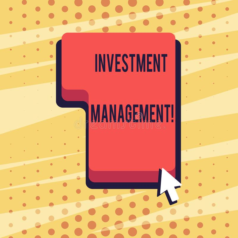 Handwriting text Investment Management. Concept meaning analysisagement of investments for a financial institution. Handwriting text Investment Management vector illustration