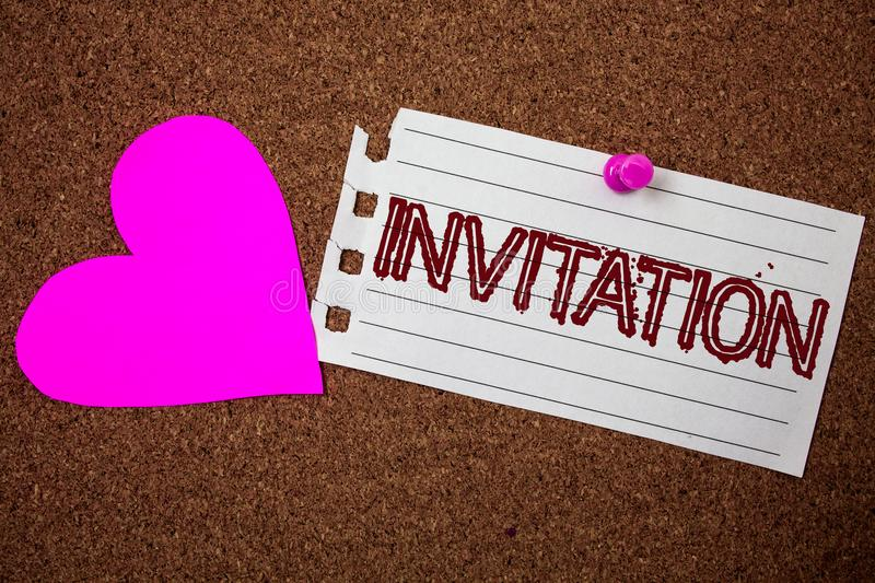 Handwriting text Invitation. Concept meaning Written or verbal request someone to go somewhere or do something Piece notebook pape. R grunge ideas pink heart stock photos