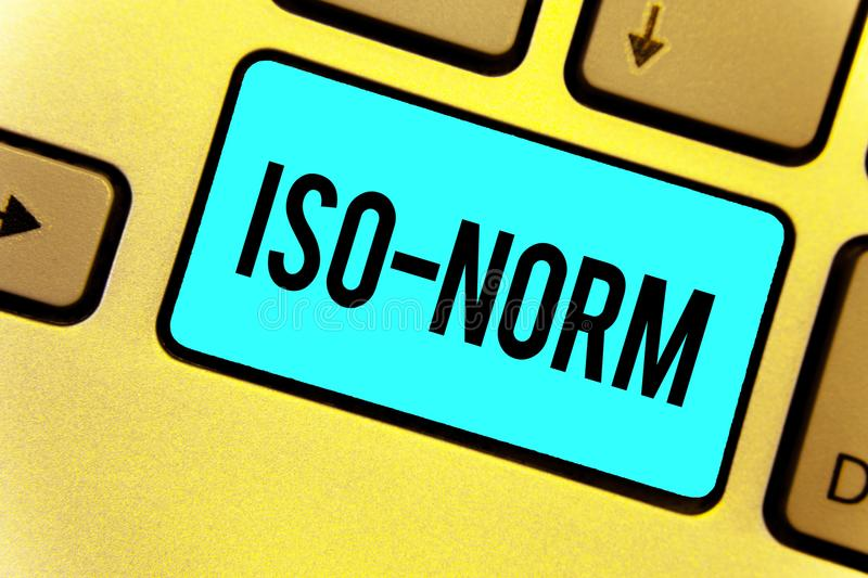 Handwriting text Iso Norm. Concept meaning An accepted standard or a way of doing things most people agreed Keyboard blue key Inte. Ntion create computer stock images