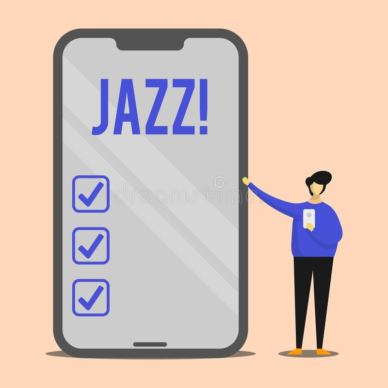 Handwriting text Jazz. Concept meaning Type of music of black American origin Musical genre Strong rhythm Man Presenting. Handwriting text Jazz. Conceptual photo vector illustration